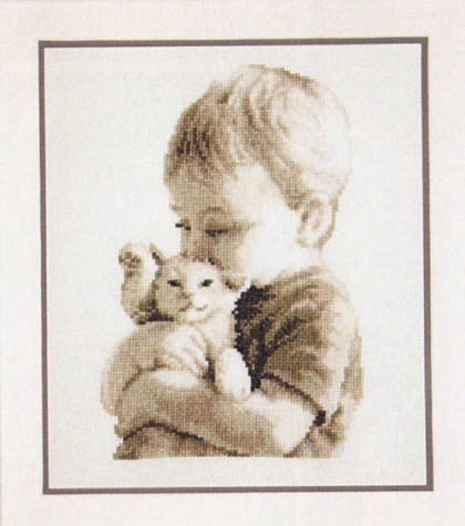 Boy with a Kitten, набор для вышивки крестом, Vervaco, PN-0148508